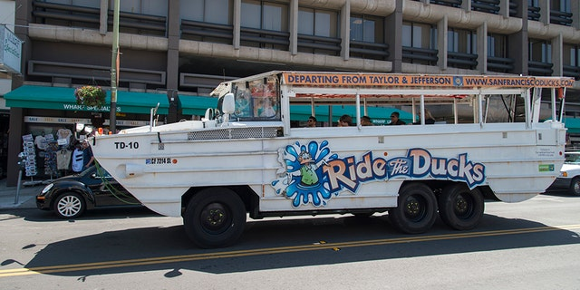 Duck boats are used as sightseeing vehicles by tourism companies.