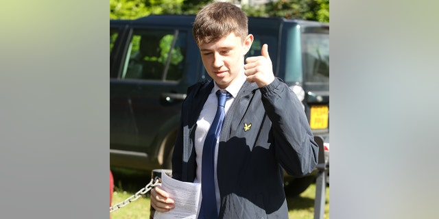 "Jamie Elliot arrives at court where he is charged with driving a golf buggy through a McDonalds drive through, June 19 2018. See Ross Parry story RPYBUGGY; Police officers arrested the driver of a  golf cart after he was allegedly seen driving it while drunk around a McDonald's Drive-Thru. The driver was not loving it after cops showed up to arrest him on an 'unusual job' as he had driven the illegal road vehicle to the fast-food joint. It is believed the stolen buggy was swiped from Catterick Golf Club in North Yorkshire - which is just a mile away from the burger-making franchise. North Yorkshire Police officers posted: ""Most unusual job of the night."