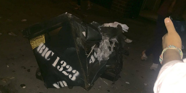 Sept. 17, 2016: This image shows a dented garbage bin that may have contained the explosive device that detonated in Manhattan's Chelsea neigborhood