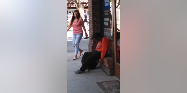 A homeless man in Downtown Durango.