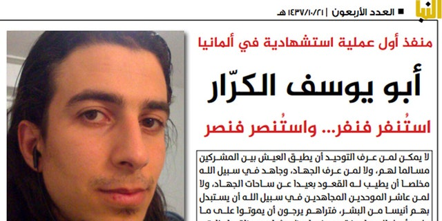 This undated photo from Al-Nabaa, an online magazine of the Islamic State group, shows Mohammad Daleel