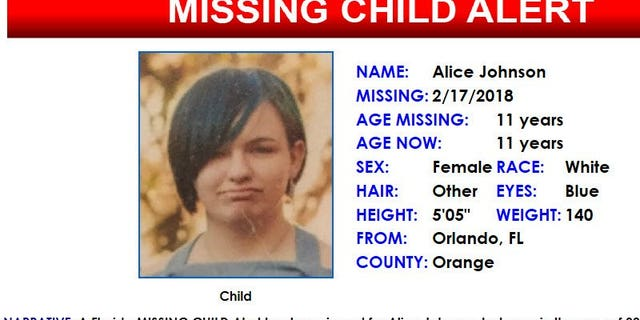 11-year-old Alice Johnson was found Sunday evening after disappearing from her home in Florida.