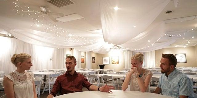 From left, Kassie Bevier, Nicholas Lewan, Krissie Bevier and Zack Lewan discuss their wedding plans.