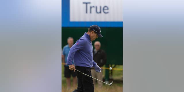Tom Watson of the US walks on the 6th green during a practice round at the Royal Liverpool Golf Club prior to the start of the British Open Golf Championship, in Hoylake, England, Monday, July 14, 2014. The 2014 Open Championship starts on Thursday, July 17. (AP Photo/Jon Super)