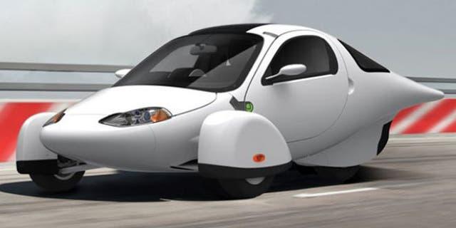 The Aptera 2e, a unique three-wheeled electric car.