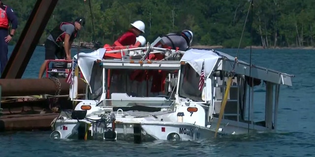 The duck boat was raised from the Missouri lake four days after it sank during a storm.