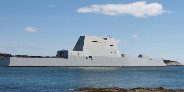 April 20, 2016: The destroyer USS Zumwalt departs Bath, Maine.