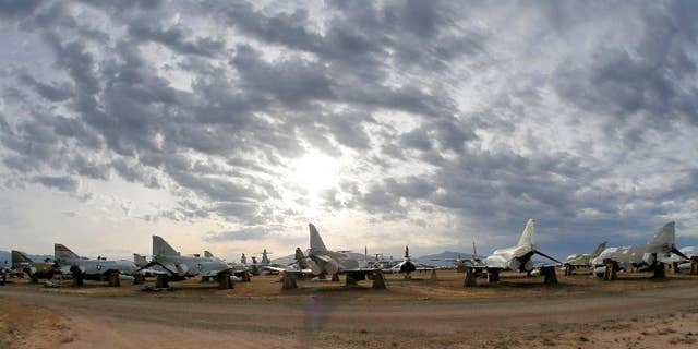 FILE - In this May 21, 2015 file photo a field of F-4 Phantoms are stored at the 309th Aerospace Maintenance and Regeneration Group boneyard in Tucson, Ariz. The last of thousands of F-4 Phantom jets that have been a workhorse for the U.S. military over five decades are being put to pasture to serve as ground targets for strikes by newer aircraft. (AP Photo/Matt York,File)