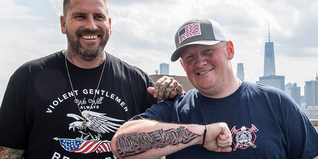"""Tattoo artist Luke Wessman gave David, who deployed to Afghanistan in wake of 9/11 and is currently part of the NYPD counterterrorism bureau, a """"We the People"""" tattoo."""