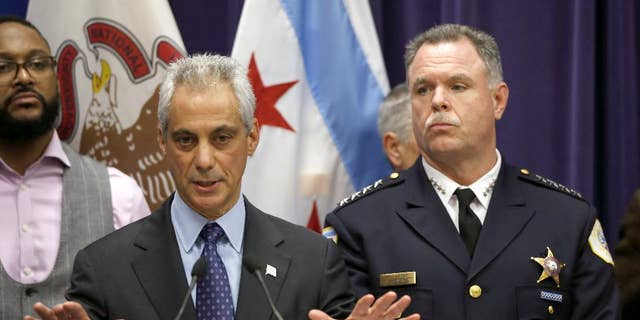 """Former Chicago Police Superintendent Garry McCarthy, right, has said he was """"thrown under the bus"""" when he was fired in 2015 by Chicago Mayor Rahm Emanuel."""