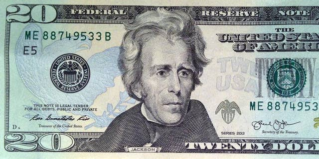 A U.S. $20 bill, featuring a likeness of Andrew Jackson, seventh president of the United States. (U.S. Treasury via Associated Press)
