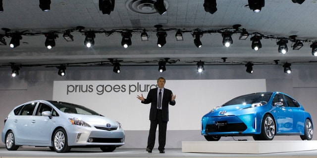 The Toyota Prius C Concept (right) and Prius V (left) unveiled at the 2011 Detroit Auto Show