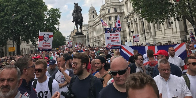 Robinson and Trump supporters rallied in London earlier this month.