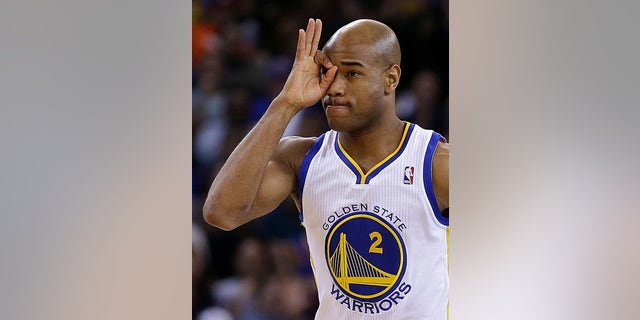 Golden State Warriors' Jarrett Jack gestures after scoring a 3-point basket during the first half of an NBA basketball game against the Oklahoma Thunder on Thursday, April 11, 2013, in Oakland, Calif. (AP Photo/Ben Margot)