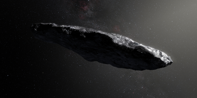 An artist's illustration of the interstellar object known as 'Oumuamua, the first object ever to be discovered passing through our solar system from somewhere beyond.