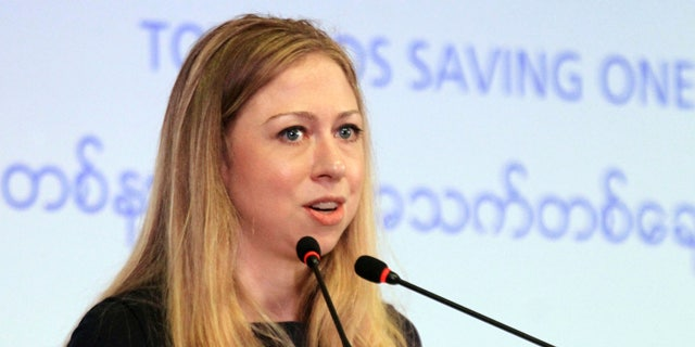 May 27, 2013: Chelsea Clinton, daughter of former U.S. President Bill Clinton, speaks during a launching ceremony of Children's safe drinking water program in Yangon, Myanmar. (AP/Khin Maung Win)