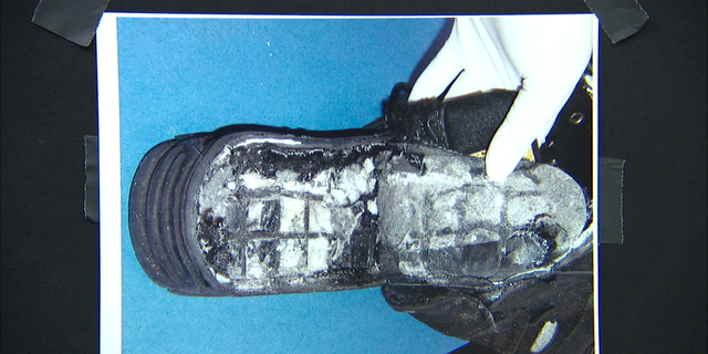 The 2001 shoe bomb worn by Al Qaeda terrorist Richard Reid.