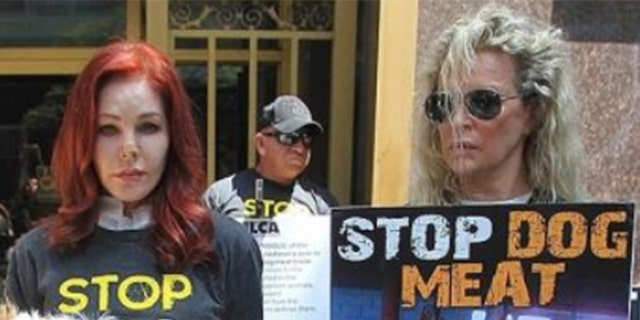 Priscilla Presley and actress Kim Basinger protest dog meat in Los Angeles.