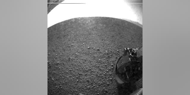 This is one of the first images taken by NASA's Curiosity rover, which landed on Mars the evening of Aug. 5 PDT.