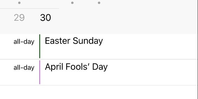 Easter Sunday appears in iCal in iOS 11.2.2
