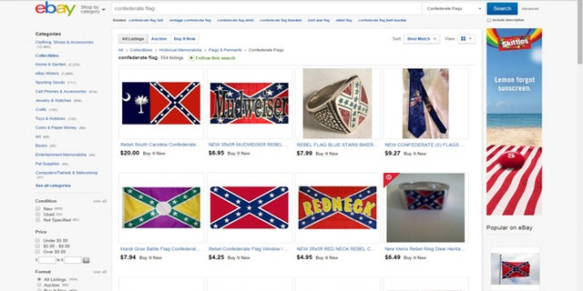 Other paraphernalia with Confederate flag imagery was still for sale on the auction website.