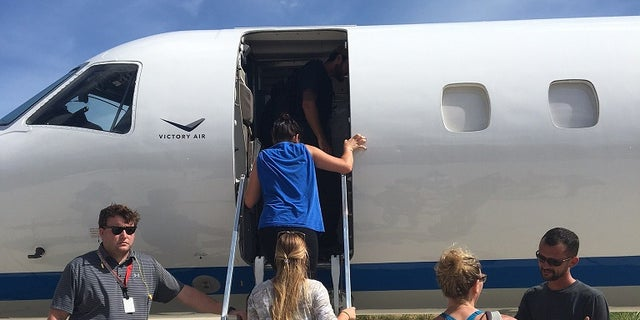 Air Victory flew a passenger plane to Saint Thomas in the U.S. Virgin Islands Monday and transported 41 people and their pets back to the U.S. the same day ahead of Hurricane Maria's arrival.