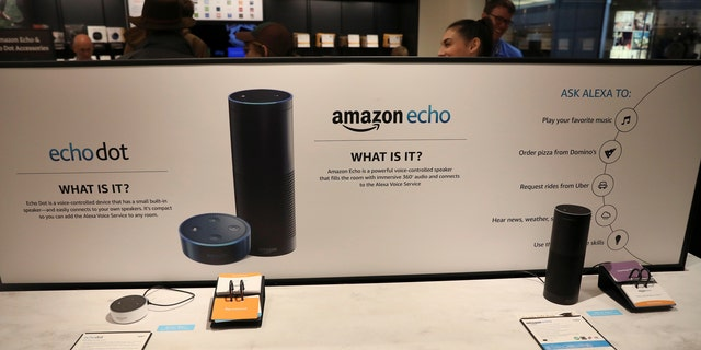 Displays for the echo dot and echo are seen inside the Amazon Books store in the Time Warner Center at Columbus Circle in New York City, New York, U.S., May 25, 2017. REUTERS/Shannon Stapleton - RTX37MH6