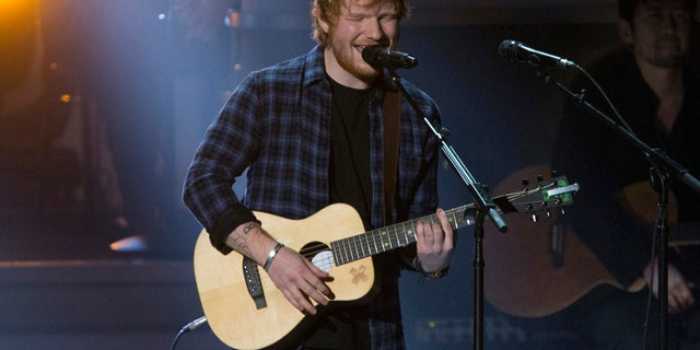 """British singer Ed Sheeran performs """"I Was Made To Love Her"""" during the taping of """"Stevie Wonder: Songs In The Key Of Life - An All-Star GRAMMY Salute."""""""