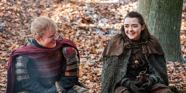 "Ed Sheeran in ""Game of Thrones"" with actress Maisie Williams."