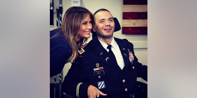 First lady Melania Trump on Tuesday made an unannounced visit to wounded service members at Walter Reed National Military Medical Center in Maryland.