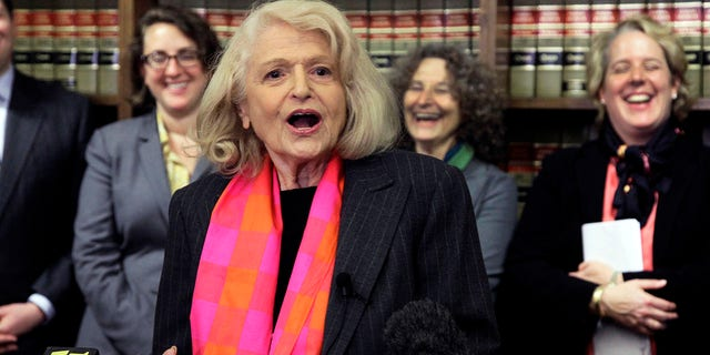 Edith Windsor addresses a news conference at the offices of the New York Civil Liberties Union in October 2012.