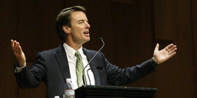 Former Sen. John Edwards speaks to students at Brown University in Providence, R.I., March 10. (AP Photo)