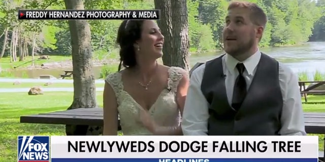 The lovebirds were filming a segment for their wedding video on the big day when tragedy nearly struck.