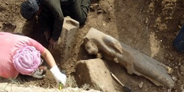 One of the statues unearthed during the Luxor excavation (Egyptian Ministry of Antiquities)