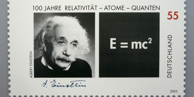 Picture shows a German 55 euro cents special edition stamp commemorating the the 100th anniversary of the publication of late German-born physicist Albert Einstein's Theory of Relativity in Berlin June 15, 2005. The stamp will be available in July 2005. - RTXNJZ3
