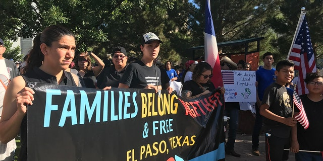 Protesters in El Paso, Texas, marched toward a bridge that connects the U.S. to Juarez, Mexico.