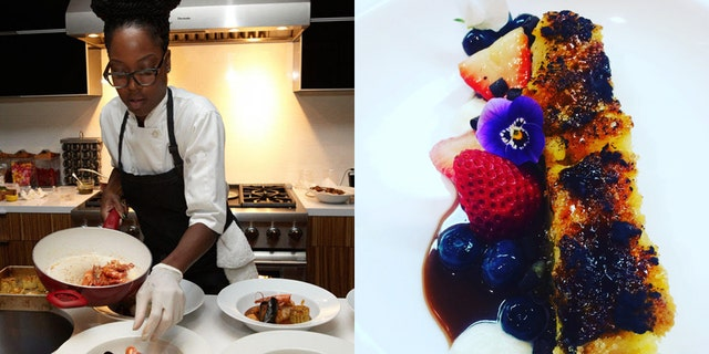 Chef Drummer and her brûléed bread pudding with caramel sauce, macerated berries and chantilly cream