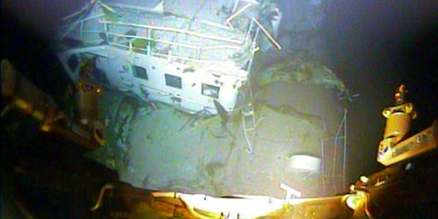 In this photograph released by the National Transportation Safety Board on Sunday, Jan. 3, 2016, the detached navigation bridge of the sunken freighter El Faro is seen on the seafloor, 15,000-feet deep near the Bahamas.