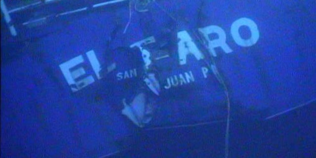In this photograph released by the National Transportation Safety Board, the damaged stern of the sunken freighter El Faro is seen on the seafloor, 15,000-feet deep near the Bahamas.