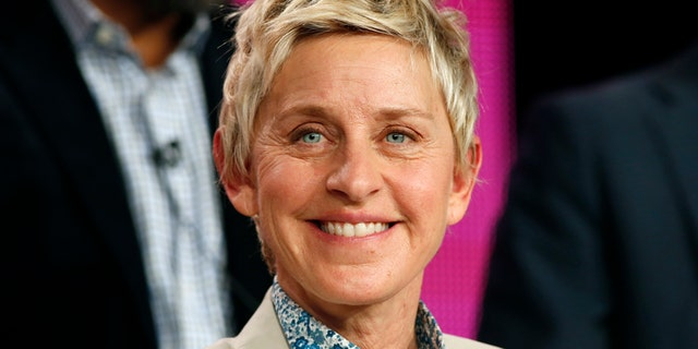 """Executive Producer Ellen DeGeneres speaks about the NBC television show """"One Big Happy"""" during the TCA presentations in Pasadena, California, January 16, 2015."""