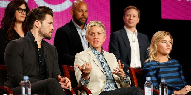 "Actors Elisha Cuthbert (R) and Nick Zano (L) and executive producer Ellen DeGeneres speak about the NBC television show ""One Big Happy"" during the TCA presentations in Pasadena, California."