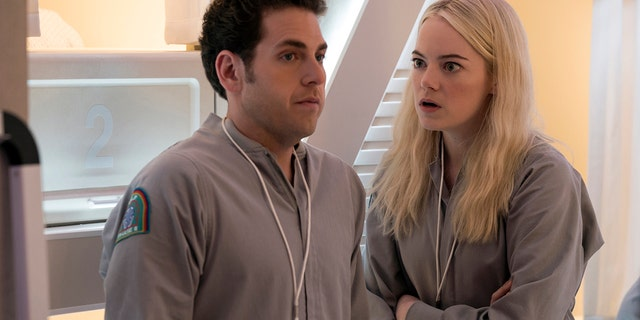 """Jonah Hill, left, and Emma Stone in """"Maniac."""""""