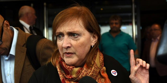 Emma Dent Coad, Labour MP for Kensington speaks to the media after the first hearing in the public inquiry into the Grenfell Tower disaster, in central London, Britain, September 14, 2017. REUTERS/Mary Turner - RC118D4091C0