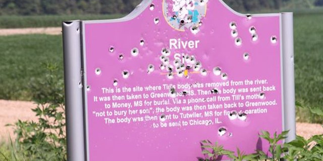 This undated photo shows a sign marking the spot where Emmett Till's body was found in Mississippi on Aug. 31, 1955