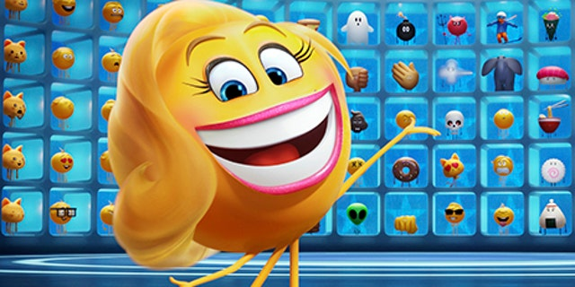 """A character, Smiler, from """"The Emoji Movie."""""""