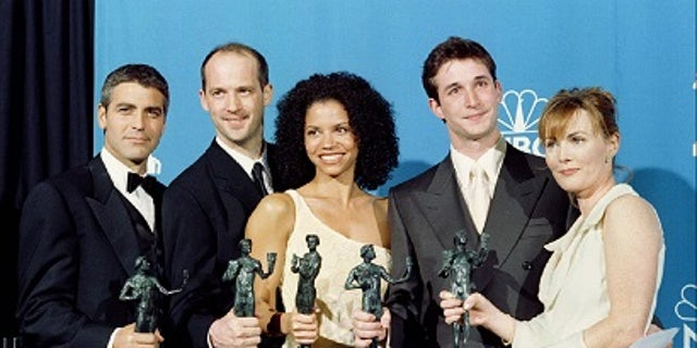 """George Clooney, Anthony Edwards, Gloria Reuben, Noah Wyle and Laura Innes of """"ER."""""""