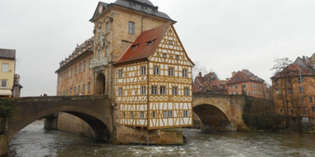 The City Hall in Bamberg, German is right on the river.