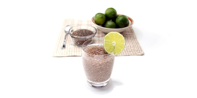 Chia fresca with a lime slice on the rim of the glass.