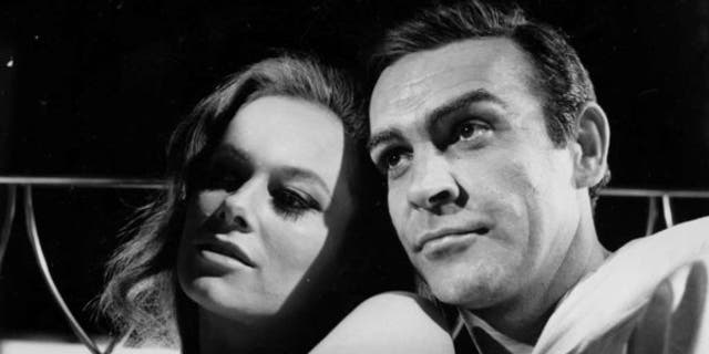 """Sean Connery with Luciana Paoluzzi in 1965's """"Thunderball."""""""