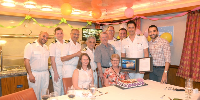 The cruise-loving couple were presented with several unique gifts to mark the milestone.